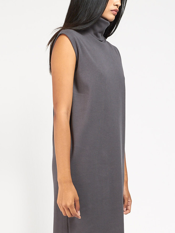 Kowtow Rib Roll Neck Dress Charcoal