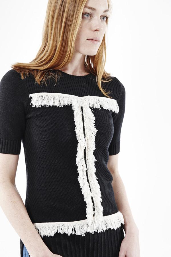 Cashmere In Love Fringe Pullover in Black