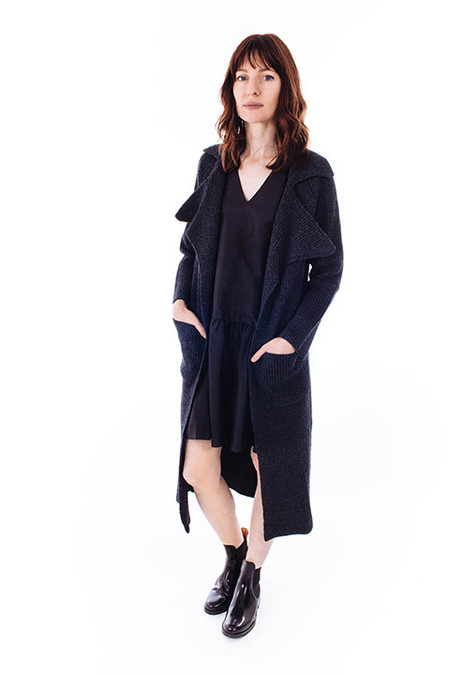 ACHRO Ribbed Sweater Coat in Charcoal
