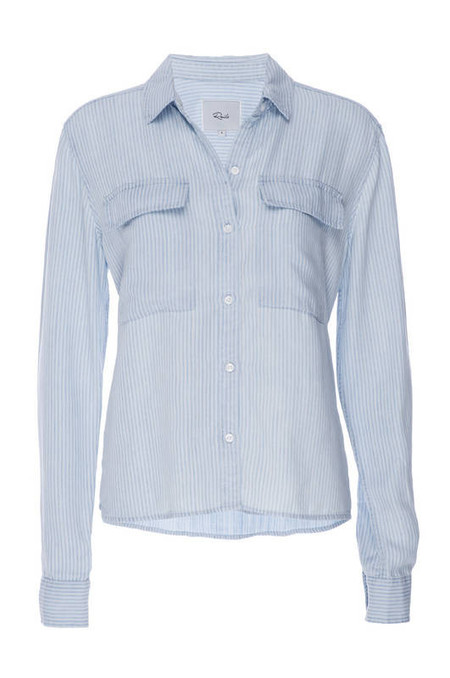 RAILS DYLAN CROPPED BUTTON DOWN IN WHITEWASH RAILROAD