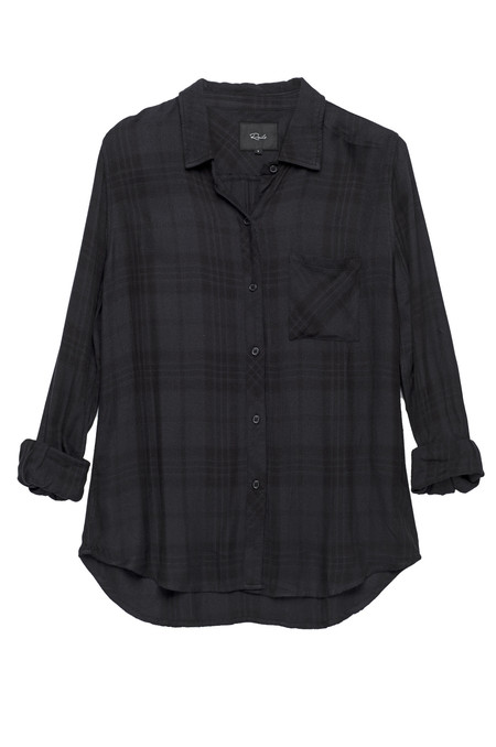 RAILS HUNTER BUTTON DOWN IN CHARCOAL & BLACK