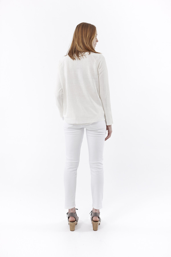 NILI LOTAN U Neck Raglan Sweater in Ivory