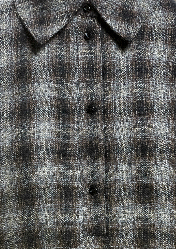 SHIRT LONG SLEEVES WOOL TWEED – BLACK / BROWN