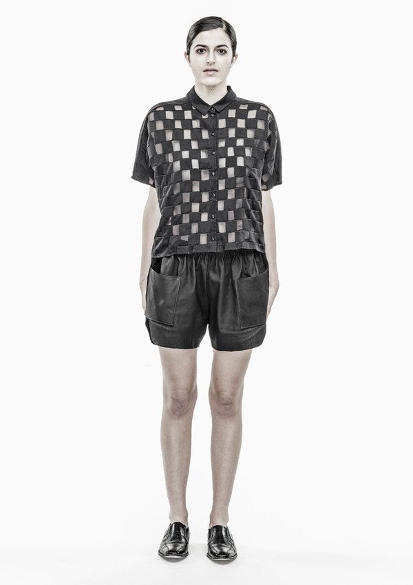 Berenik Shorts Real Leather Pig - Black
