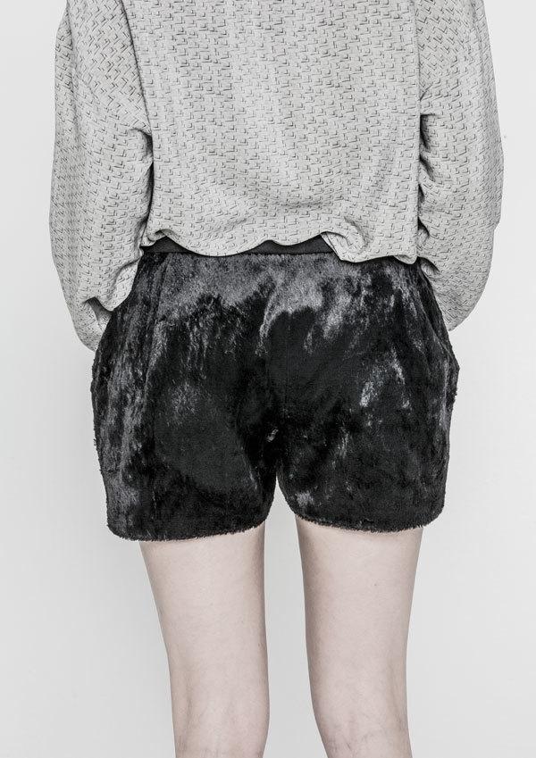 Berenik Shorts Faux Goat Fur Cotton