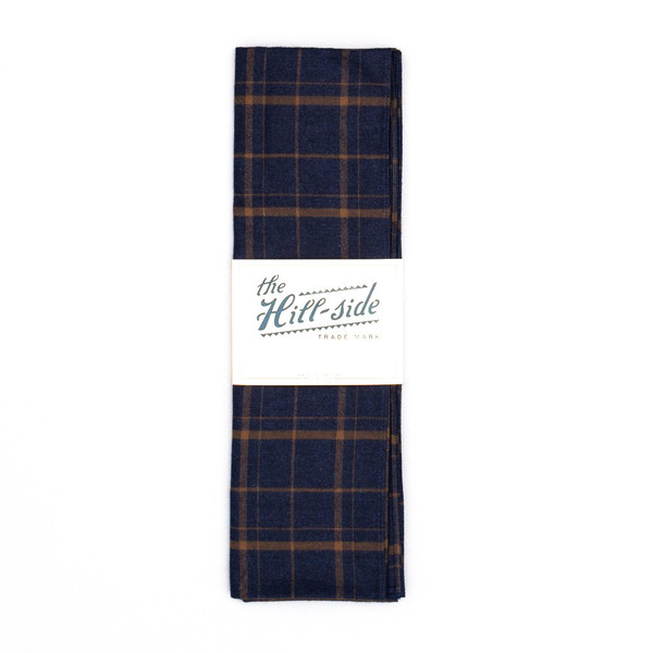 Men's The Hill-Side Scarf / Indigo Brown Check Flannel