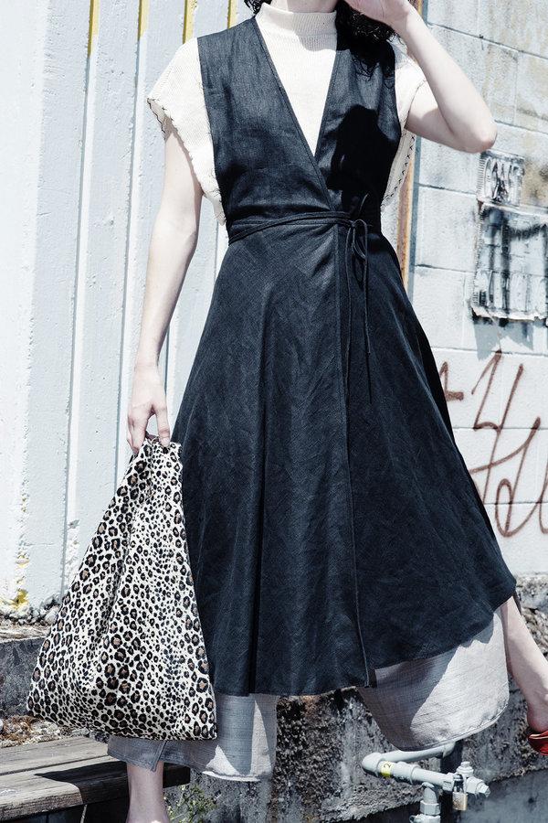Alexa Stark linen wrap dress