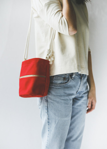 Lotfi Mini Bucket Bag in Red