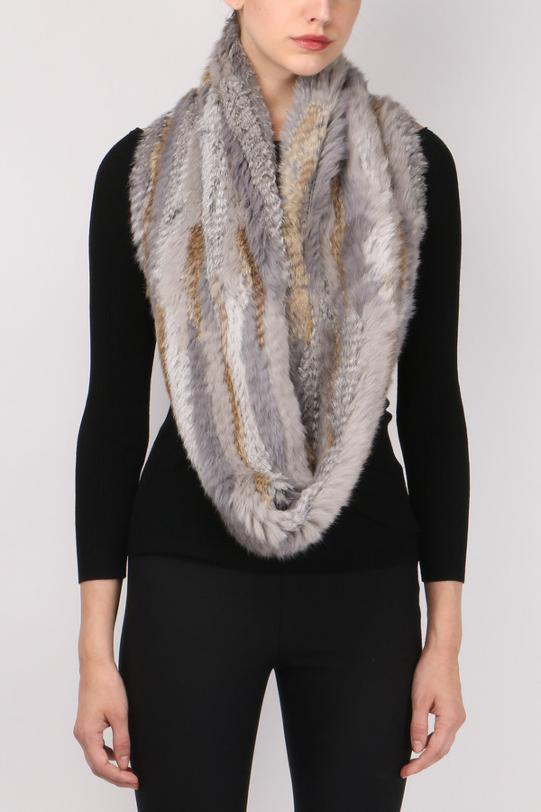 Jocelyn Fur Long Hair Rabbit Infinity Scarf