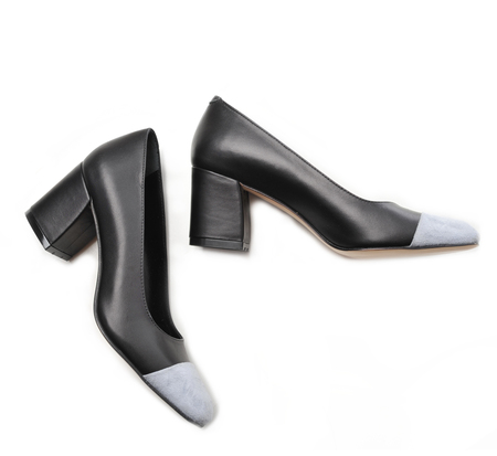 Maryam Nassir Zadeh Black and Blue Grey Suede Cap Toe Maryam Pump