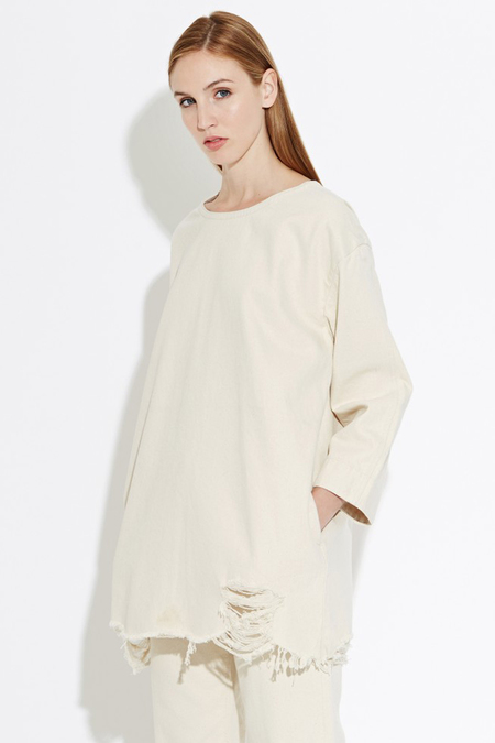 WAVEN Eira Denim Shirt Dress- Oatmeal
