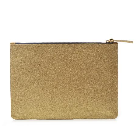 Clare V. Gold Glitter Flat Clutch
