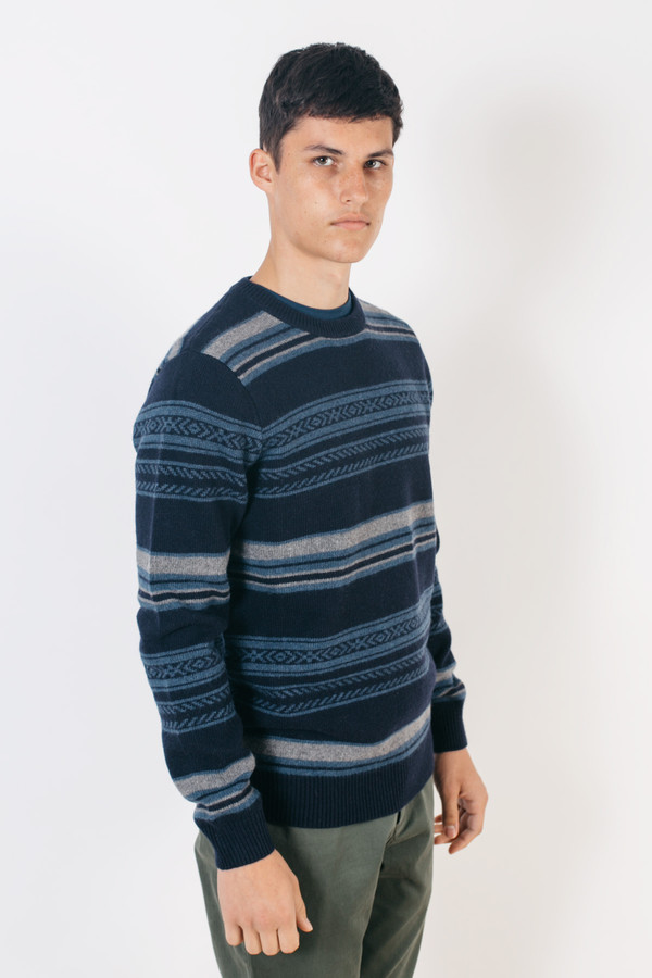 Men's Barque Stripe Sweater Navy