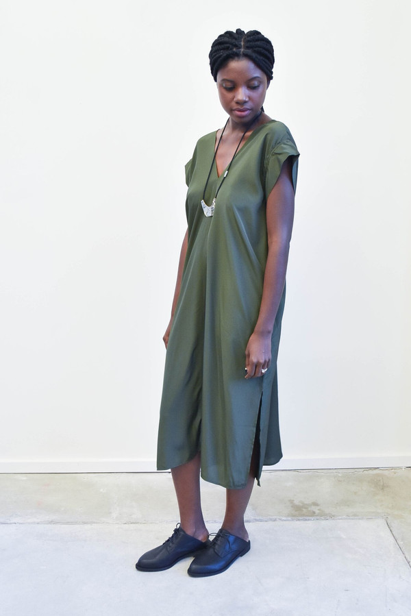 Esby Banks Kimono Dress in Olive Silk