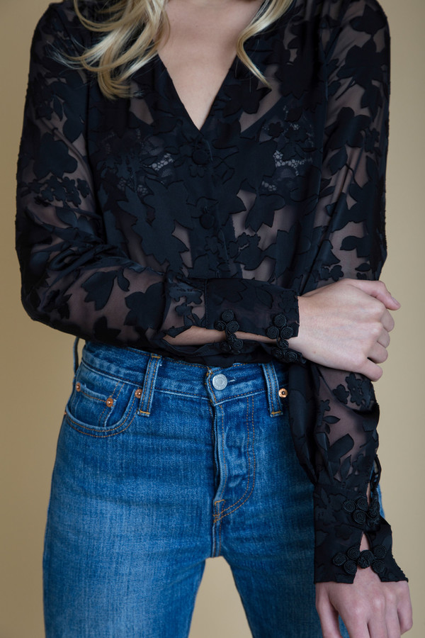 BETWEEN TEN Cypress Blouse - Black Floral