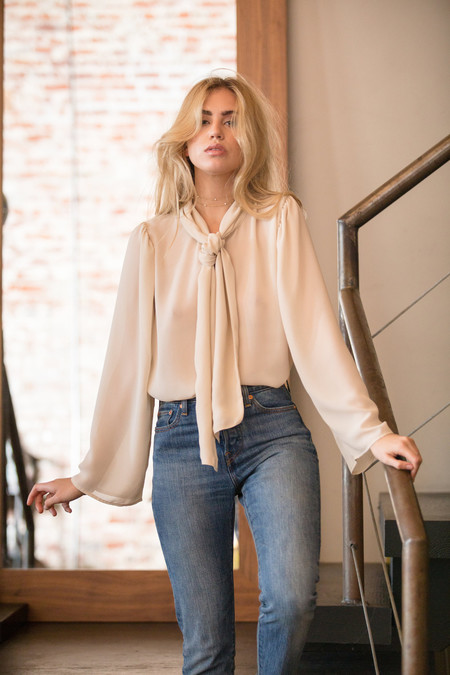 BETWEEN TEN Rae Bow Blouse - Ivory