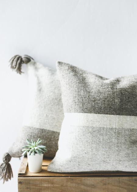 Poketo Handwoven Wool Cushion Cover - 3 Tone Stripe or 2 Tone Tassel