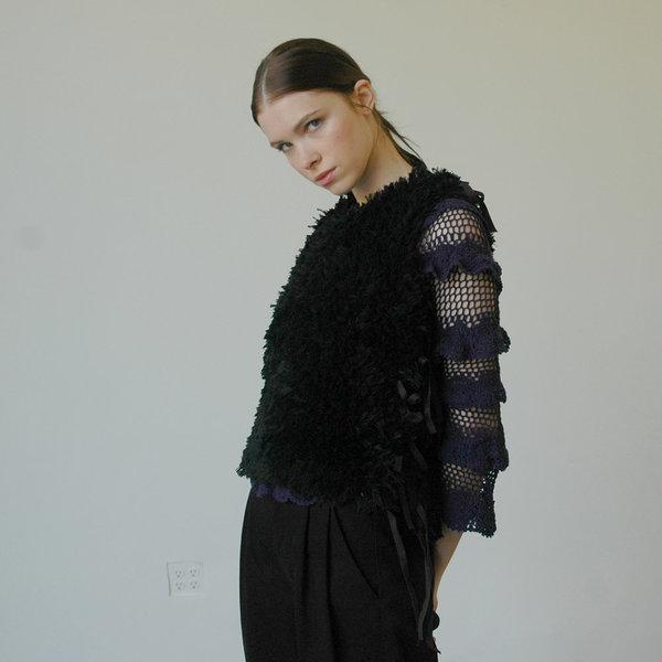Nikki Chasin Bhanu Faux Fur Embroidered Vest - Black