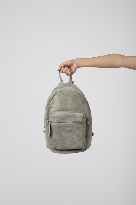 BAGGU Grey Suede Leather Backpack