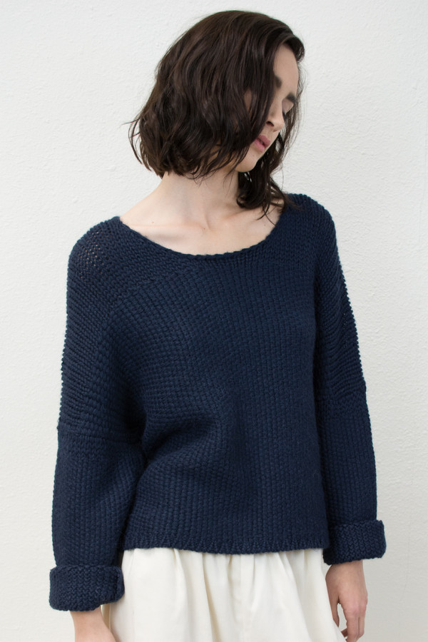 Micaela Greg Navy Woven Stitch Sweater