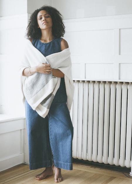 Bare Knitwear Travel Wrap - Ivory Stripe