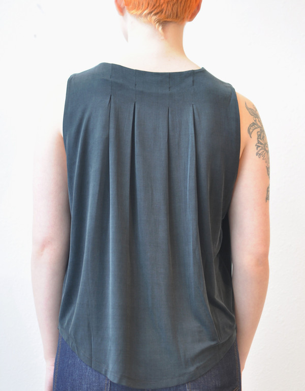 "Just Female ""Halsey"" Knit Cupro Top w/ Back Pleat Detail"