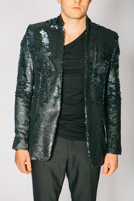 Men's Any Old Iron Black Glitter Sequin Jacket
