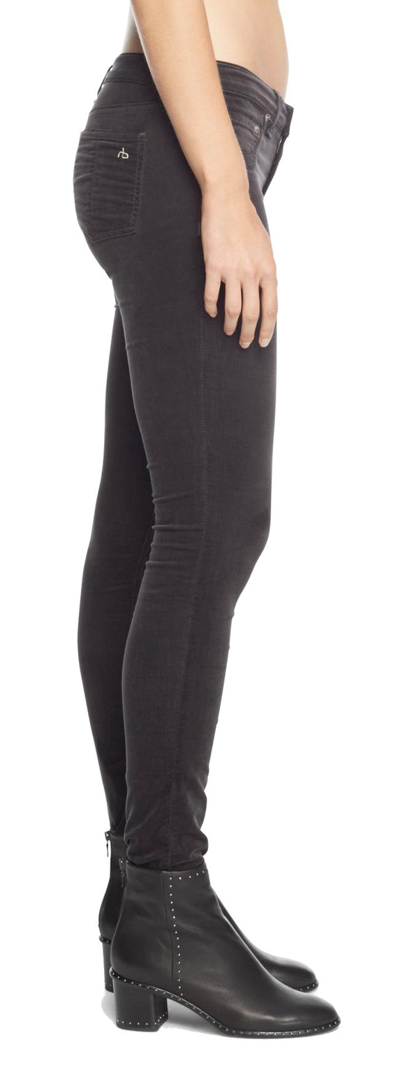 Rag & Bone Skinny in Charcoal Velvet