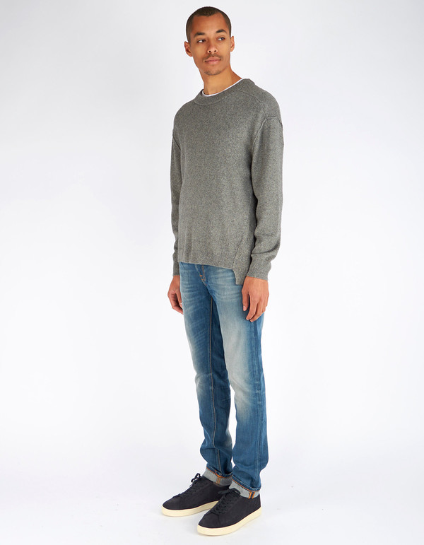 Men's Filippa K Organic Cotton Yak Sweater Grey Melange