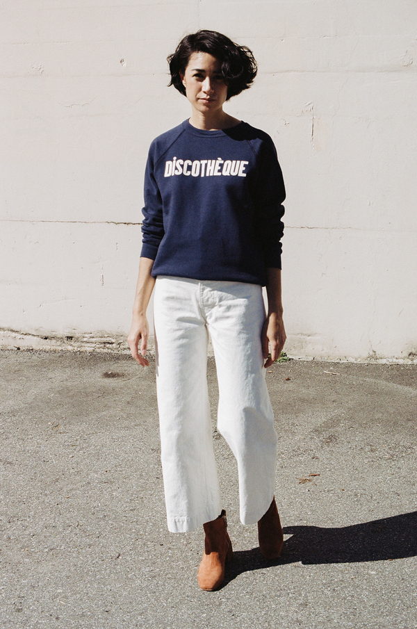 Clare V Sweatshirt - navy with white discotheque