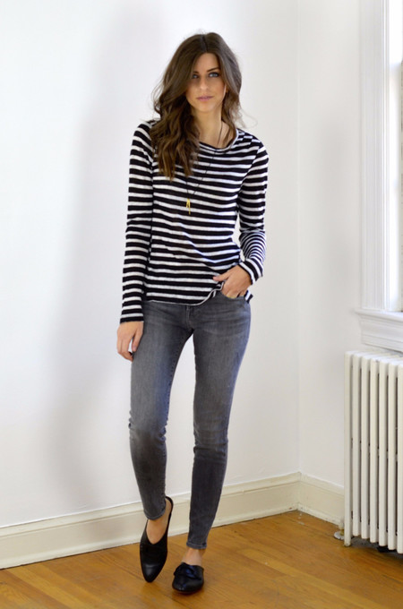 FRAME Denim Pin Tuck Long Sleeve Tee