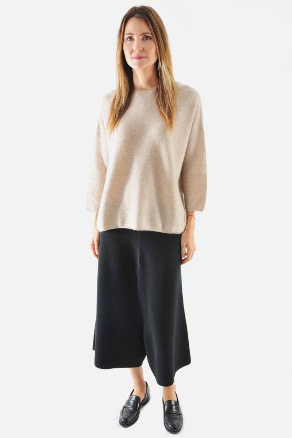 Oyuna Knitted Beige Pullover by Oyuna