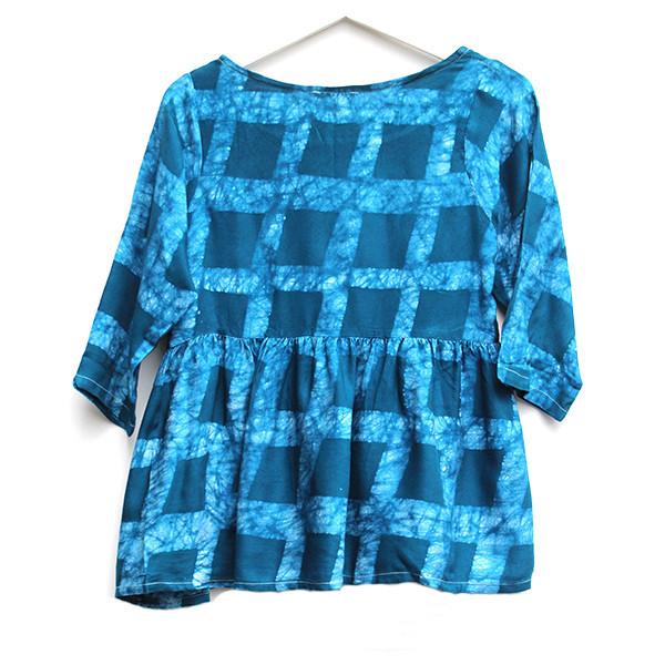 Della Teal Checkered Top