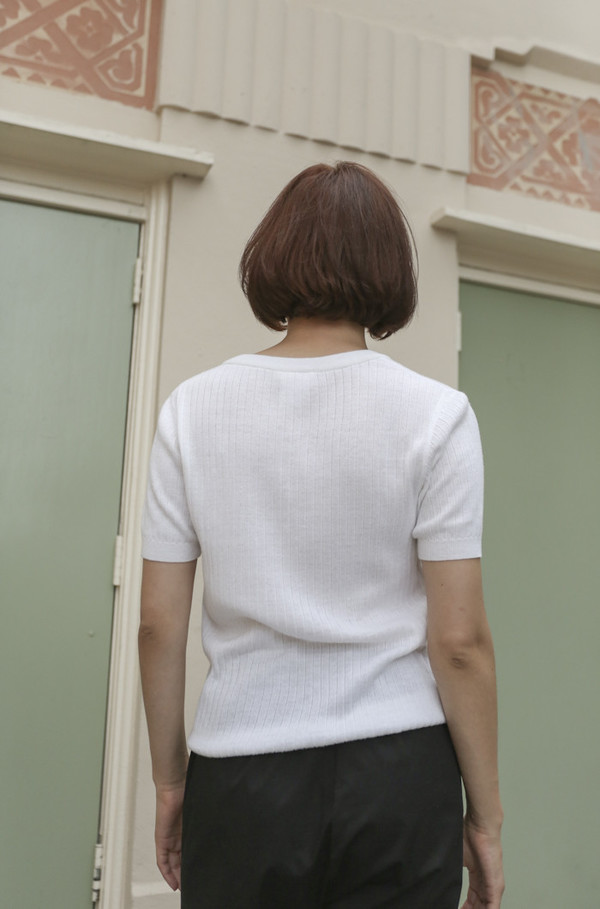 NONNA Vintage Courrèges Ribbed Henley in White