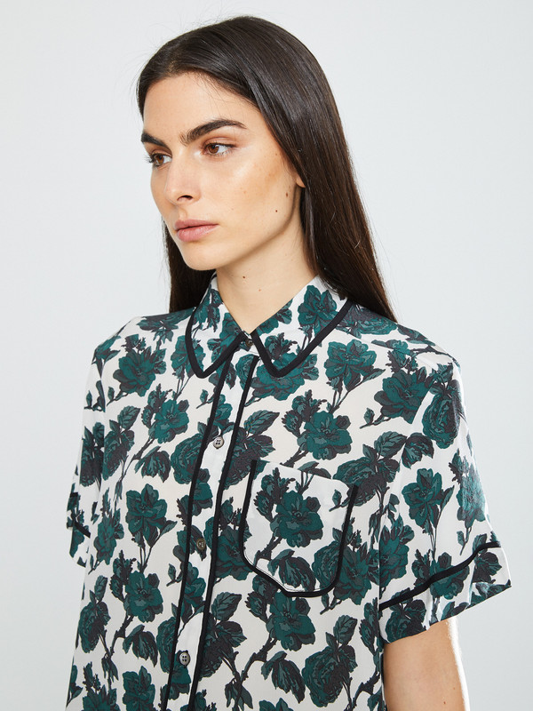 WHiT Sam Top in Leaf Print