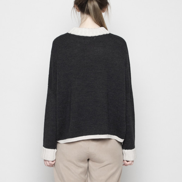 7115 by Szeki Mock-Neck Merino Sweater - Charcoal + Beige FW16