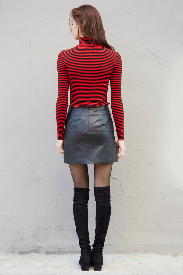 Tees by Tina Striped Mock Neck Top