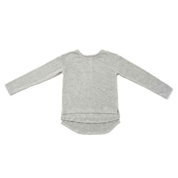 OMAMImini Heather Grey Kids Soft-knit Long Sleeve Tee
