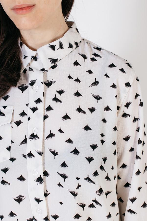 Bridge & Burn Bird White Leaf Print