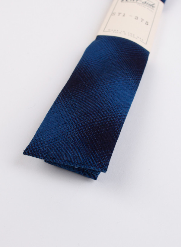 The Hill-Side Square-End Tie, Indigo Ombre Plaid Flannel