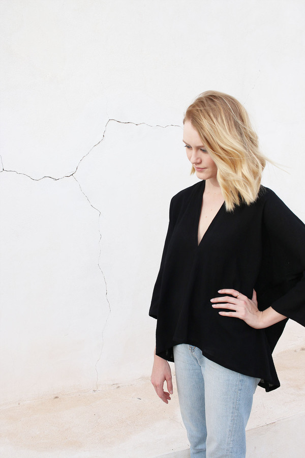 Muse Top in Black Cotton Gauze - one left!
