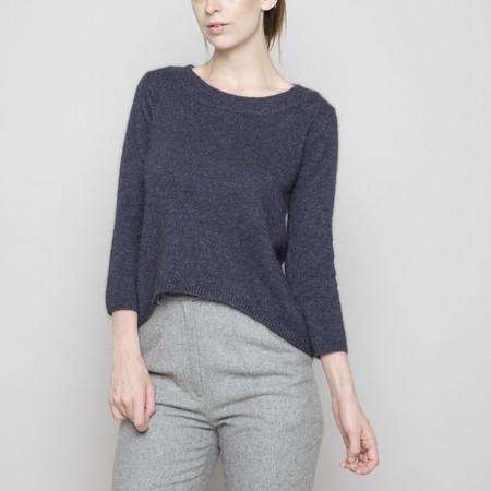 7115 by Szeki Angora Peephole Sweater - Navy FW16