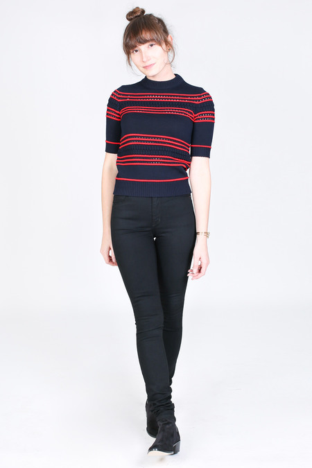Suno Short sleeve pointelle stripe sweater in navy