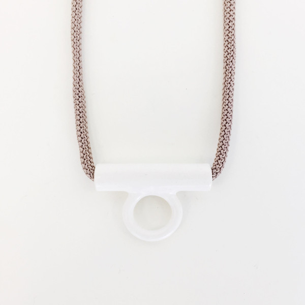 Aubrey Hornor White Hollow Tab Necklace