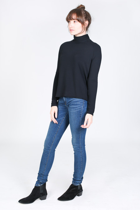 Majestic French terry mock neck in black