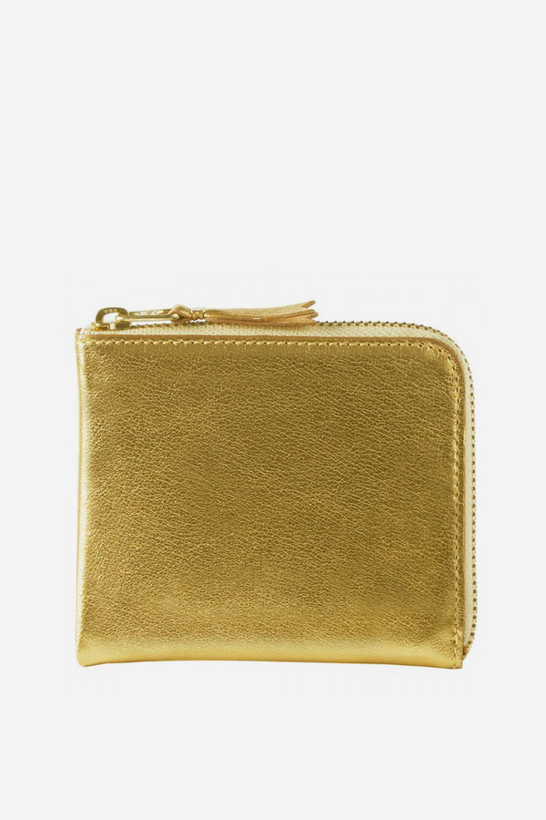 Men's Comme des Garçons Leather SA-3100G Half Zip Wallet - Gold