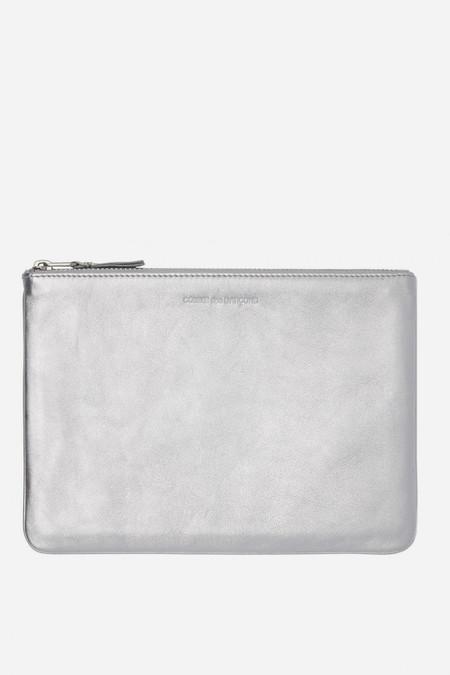 Men's Comme des Garçons Leather SA-5100 Lg Zip Pouch - Silver