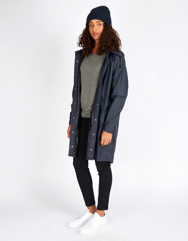Rains Long Jacket Women's Blue