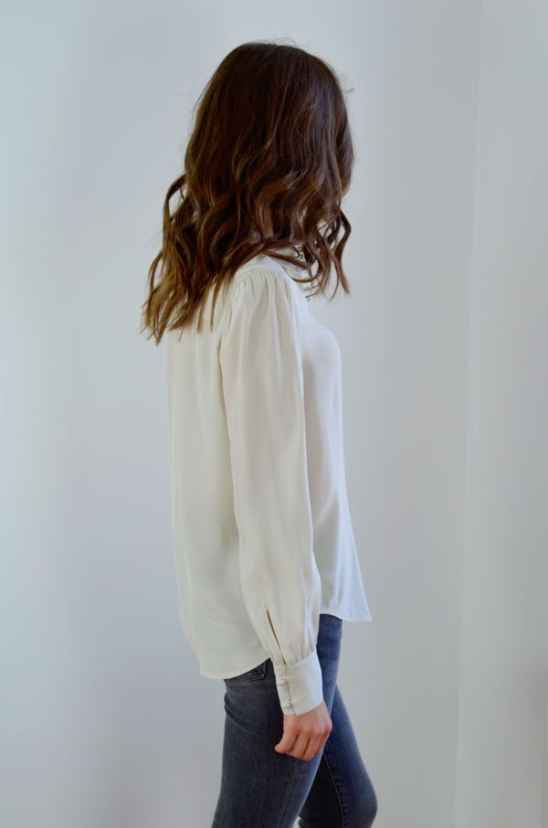 FRAME Denim Victorian Button Up Blouse - Bone