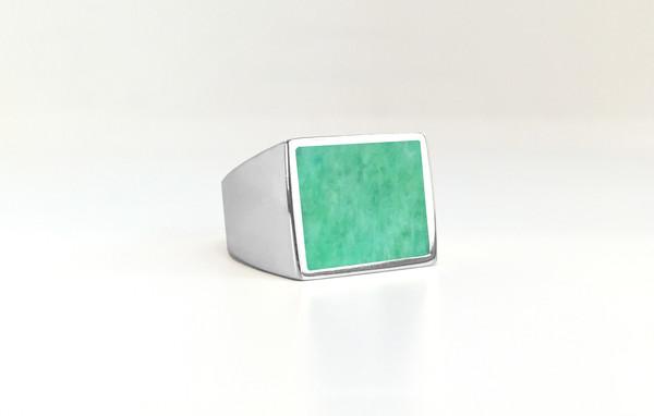 Legier Amazonite Stone Signet Ring